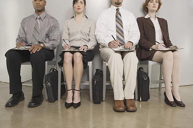 Seated job applicants