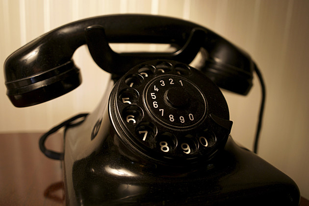 Close-up of antique telephone