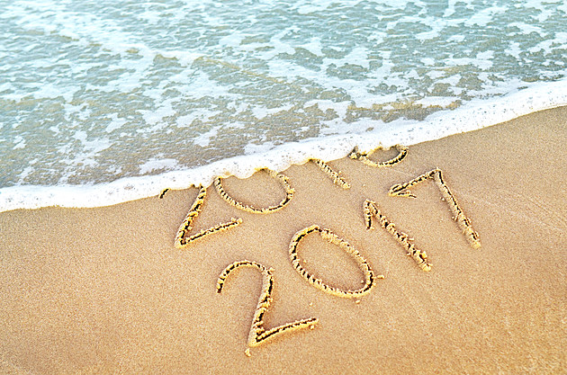New Year 2017 replace 2016 on sea
